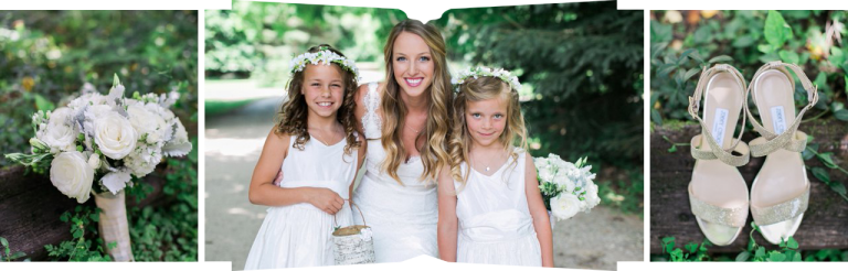 Jimmy Choo Gold Straps, a bride with the flower girls, Victoria's Floral Designs White Bridal bouquet