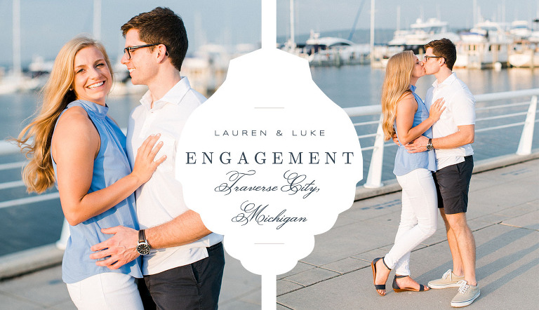 This is an engaged couple at a marina in Traverse City, Michigan