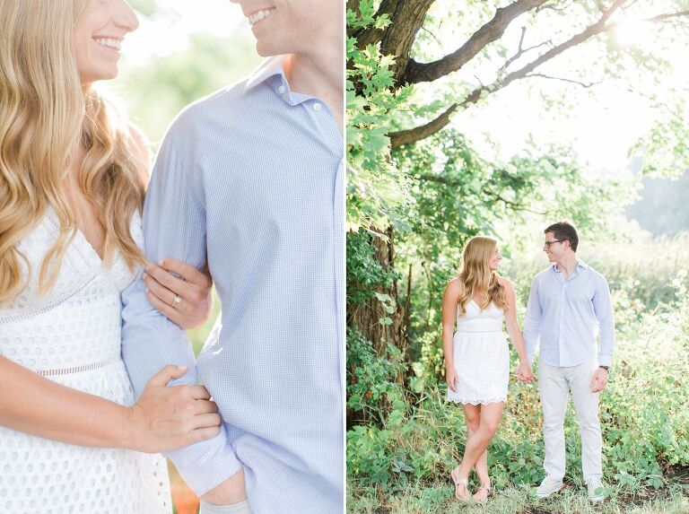 This is an engaged couple near a tree in Traverse City, Michigan