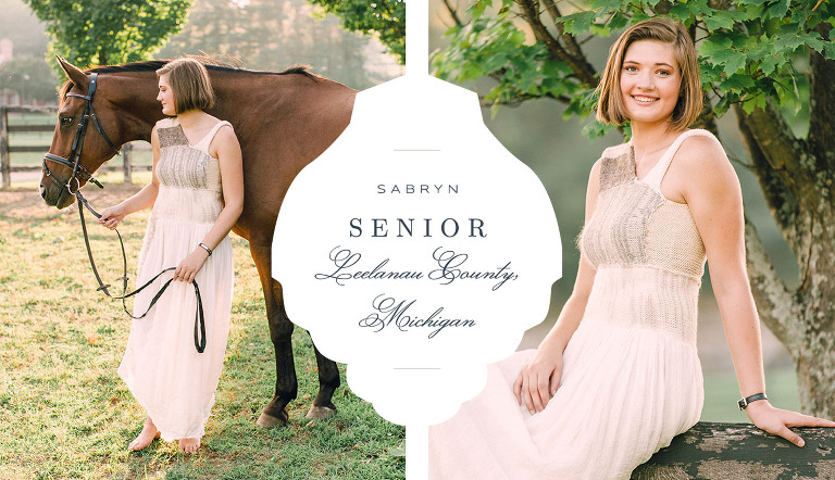 Senior Portraits with a horse in Lake Leelanau, Michigan