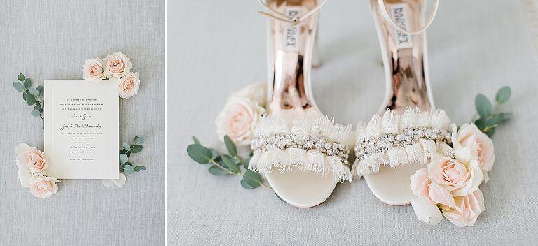 Wedding invitation and the bride's heels