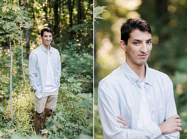 High school senior posing in the woods in Northern Michigan