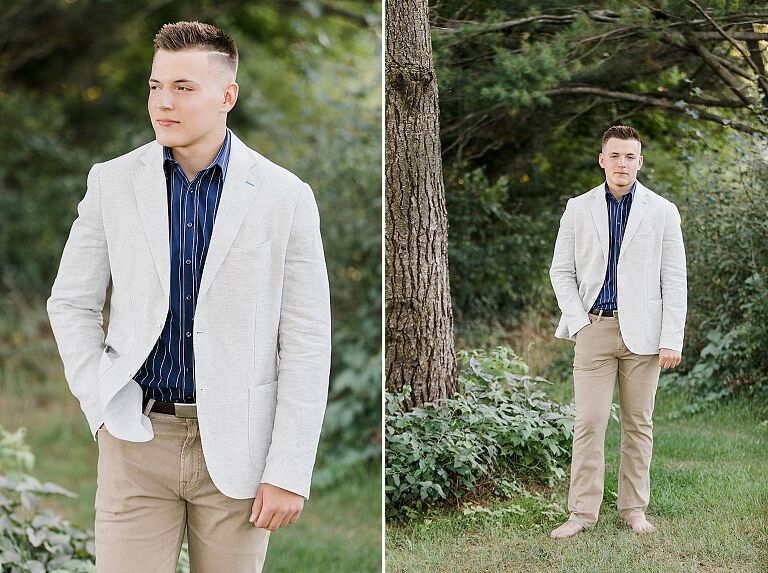 This is a photo of a senior portrait in a wooded area in Traverse City, Michigan