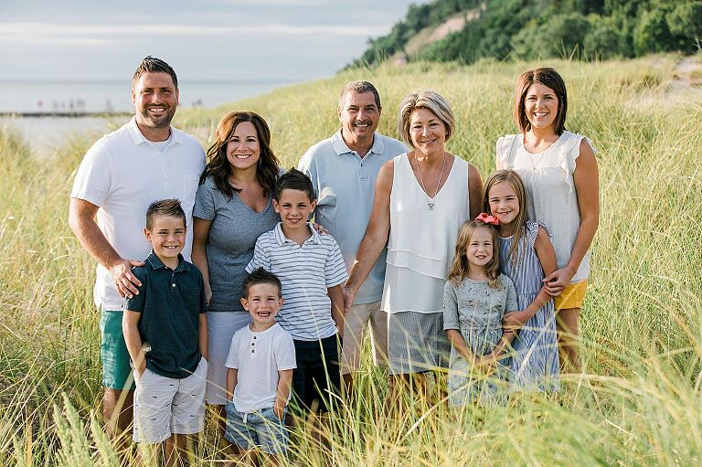 Extended family in the tall, beach grasses of Northern Michigan
