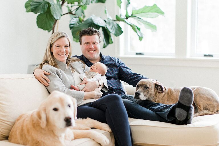 New parents sitting with their baby and two dogs