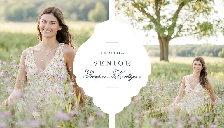 A girl's senior portrait session in a field in Empire, Michigan
