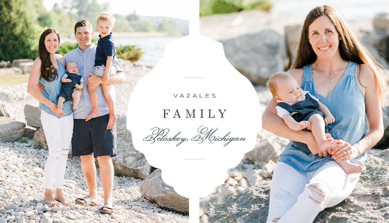 A portrait of a family of 4 in Petoskey, Michigan