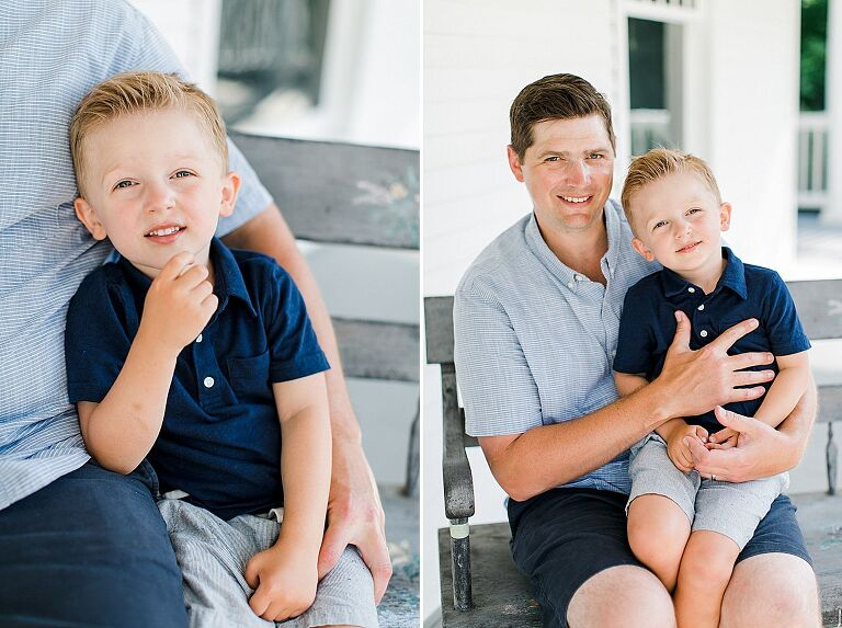 A portrait of a father and his son in Northern Michigan on a white porch