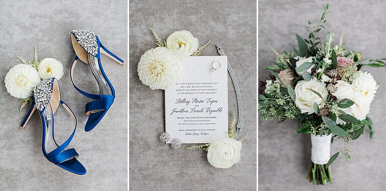 Brides blue heels, jewelry, and a bouquet
